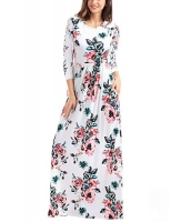クラシック 花柄 ホワイト 七分丈袖 マキシドレス cc61655-1