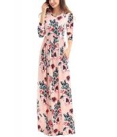 クラシック 花柄 ピンク 七分丈袖 マキシドレス cc61655-10