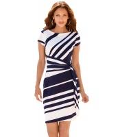 ネイビー ホワイト ストライプ 結び目 シース ドレス lc61657-5
