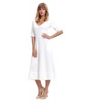 ホワイト 半袖 Vネック ハイウエスト フレア ドレス cc61659-1