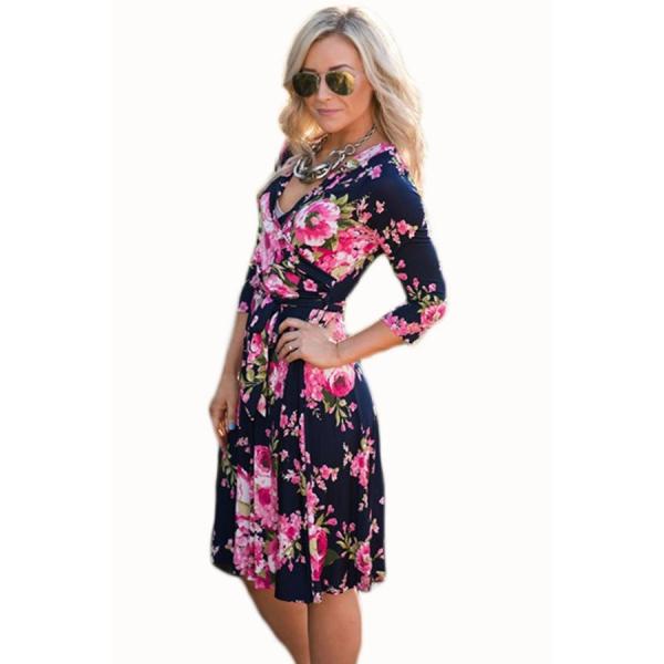 ばら色 花柄 ネイビー ラップ 花柄 ドレス cc61682-106