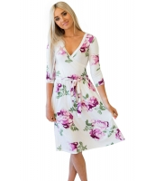 パープル 花柄 ホワイト ラップ 花柄 ドレス cc61682-8