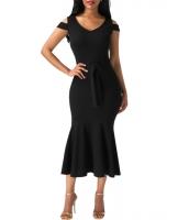 ブラック コールドショルダー 装飾リボン マーメイド ドレス cc61686-2