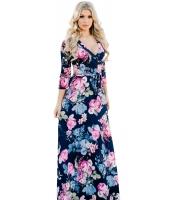 ネイビー ブルー 大きい 花柄 ラップ Vネック ボヘミアン ドレス cc61712-5