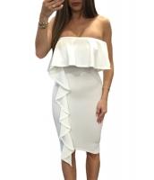 ホワイト 非対称 フリル ベアトップ ボディコン ドレス cc61715-1