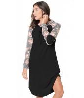 ブラック 花柄袖 切替 フード付き ドレス cc61720-2