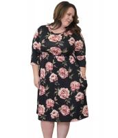 ブラック 花柄 大きいサイズ ドレス cc61771-2
