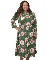 オリーブ 花柄 大きいサイズ ドレス cc61771-9