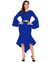 ロイヤルブルー ワイド袖 ディップ裾 ベルト付き ドレス cc61802-5
