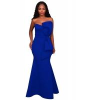 ブルー 大きいサイズ リボン アップリケ イブニングパーティー ガウン cc61804-5