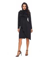 ブラック 非対称 ペプラム スタイル プッシーボウ ドレス cc61826-2