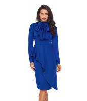 ロイヤルブルー 非対称 ペプラム スタイル プッシーボウ ドレス cc61826-5
