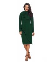 翡翠 グリーン 非対称 ペプラム スタイル プッシーボウ ドレス cc61826-9