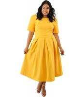 イエロー 大きいサイズ プリーツ フレア ドレス cc61843-7