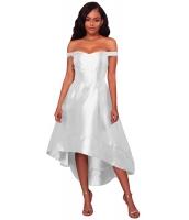 ホワイト 輝き ハイロー パーティ イブニングドレス cc61850-1
