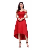 レッド 輝き ハイロー パーティ イブニングドレス cc61850-3