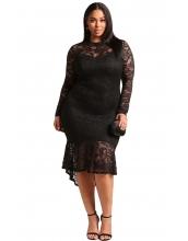 ブラック 大きいサイズ 花柄 レース入り ハイロー マーメイド ドレス cc61865-2