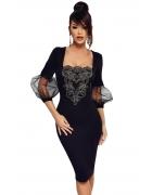 ブラック メッシュ ランタン袖 刺繍入り ビンテージ ドレス cc61893-2