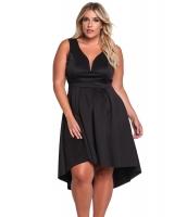 ブラック 袖なし Vネック 大きいサイズ ハイロー ドレス cc61900-2