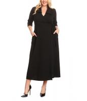 ブラック 襟付き 大きいサイズ サイド結び ラップ ドレス cc61904-2