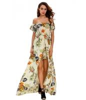 ベージュ マルチカラー 花柄 ロンパース マキシ ドレス cc64076-22