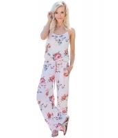 花柄 ワイドパンツ ジャンプスーツ ホワイト cc64301-1