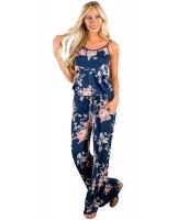 花柄 ワイドパンツ ジャンプスーツ ブルー cc64301-5
