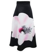 【即納】ビッグ 花柄 プリント ブラック ハイウエスト マキシ スカート  tk-cc65017-2-s-gz