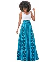 ブルー セージ ボヘミアン スタイル なだらかな マキシ スカート lc65036-4