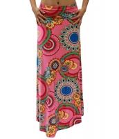 鮮やか アフリカ プリント ピンク マキシスカート ロングスカート cc65057-10