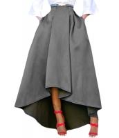 グレー 非対称 ハイロー裾 マキシ丈 プロムスカート cc65062-11