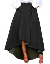 ブラック 非対称 ハイロー裾 マキシ丈 プロムスカート cc65062-2