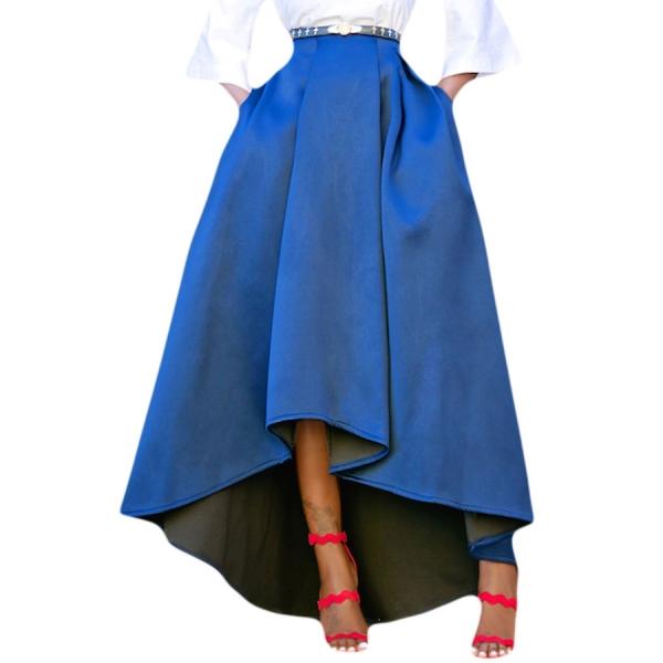 ブルー 非対称 ハイロー裾 マキシ丈 プロムスカート cc65062-4