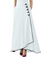 ホワイト パイプボタン装飾 ハイウエスト マキシスカート ロングスカート cc65079-1