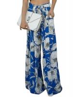 ブルー ホワイト 花柄 プリント パラッツォパンツ lc72015-5