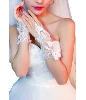 オフホワイト 花柄 アップリケ 指なし グローブ cc73132-1