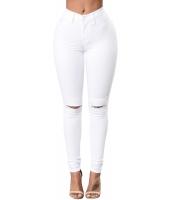 ホワイト トレンディ 膝スリット デニム パンツ cc78687-1
