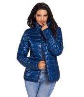 ブルー ハイネック キルティング 綿/コットン ジャケット cc85126-5
